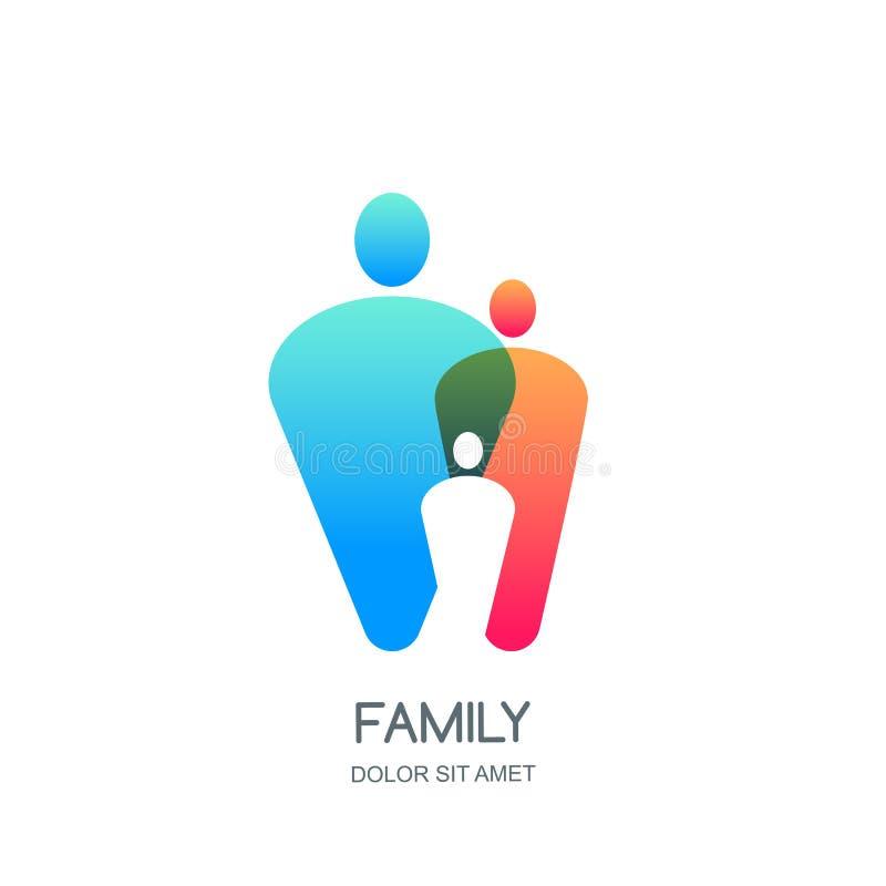 Αφηρημένο ζωηρόχρωμο οικογενειακό λογότυπο, εικονίδιο, πρότυπο σχεδίου εμβλημάτων Επικαλύπτοντας σκιαγραφίες ανθρώπων απεικόνιση αποθεμάτων