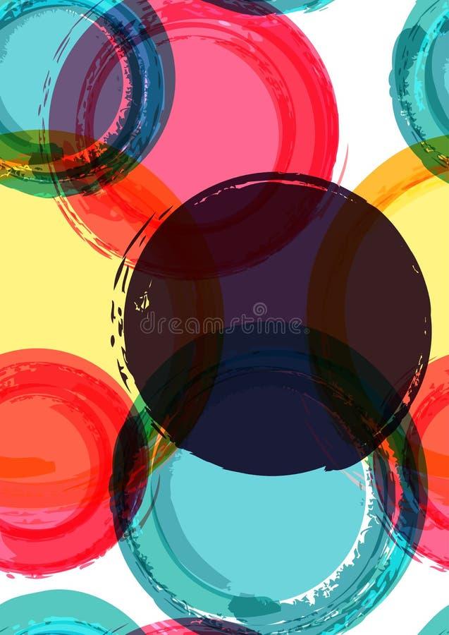 Αφηρημένο ζωηρόχρωμο υπόβαθρο βουρτσών watercolor κύκλων, διανυσματική θάλασσα διανυσματική απεικόνιση