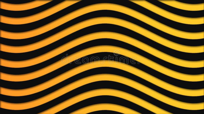 Αφηρημένο ζωηρόχρωμο υπόβαθρο με τα μαύρα και κίτρινα κύματα που ρέουν αργά, άνευ ραφής βρόχος : Φωτεινές κυματιστές γραμμές ελεύθερη απεικόνιση δικαιώματος