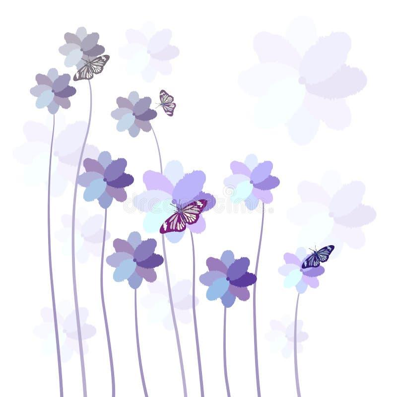 Αφηρημένο ζωηρόχρωμο υπόβαθρο με τα λουλούδια και την πεταλούδα ελεύθερη απεικόνιση δικαιώματος