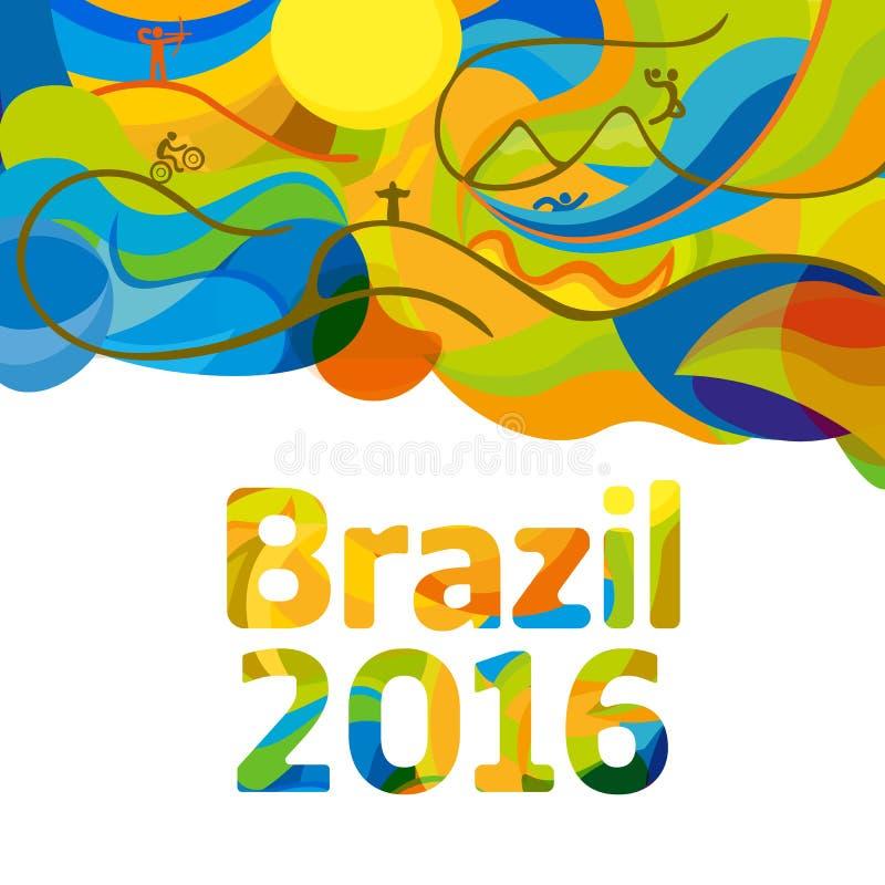 Αφηρημένο ζωηρόχρωμο υπόβαθρο του Ρίο 2016 διανυσματική απεικόνιση