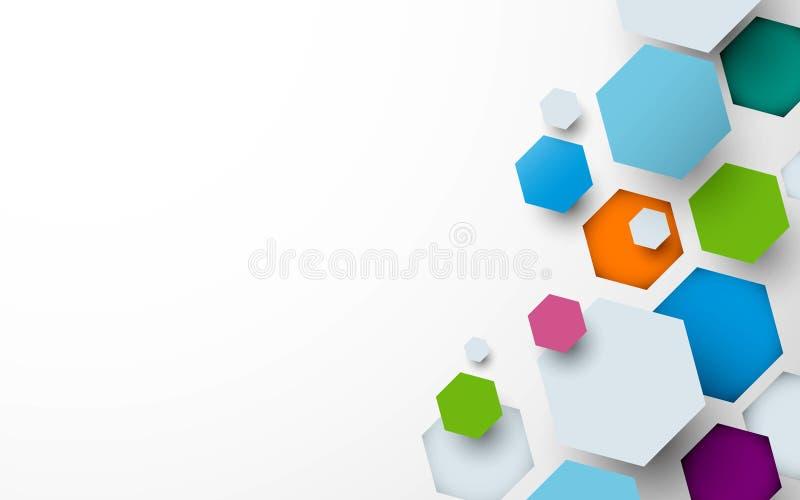 Αφηρημένο ζωηρόχρωμο hexagons υπόβαθρο μπορέστε να χρησιμοποιηθείτε για την ταπετσαρία, πρότυπο, αφίσα, σκηνικό, κάλυψη βιβλίων,  ελεύθερη απεικόνιση δικαιώματος