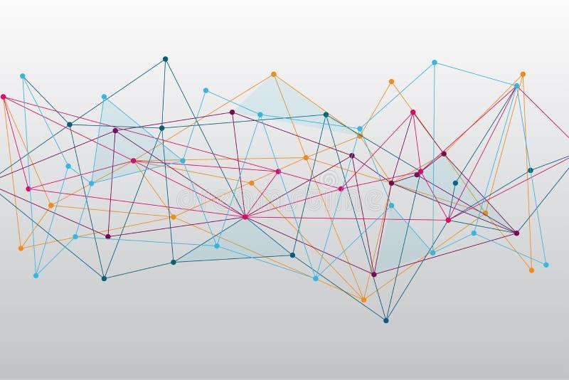 Αφηρημένο ζωηρόχρωμο Polygonal διαστημικό υπόβαθρο με τη σύνδεση των σημείων και των γραμμών ελεύθερη απεικόνιση δικαιώματος