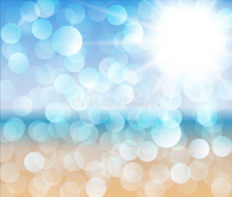 αφηρημένο ηλιόλουστο διάνυσμα απεικόνισης παραλιών διανυσματική απεικόνιση