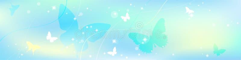 Αφηρημένο θερινό υπόβαθρο άνοιξης στο ελαφρύ χρώμα κρητιδογραφιών, περιβαλλοντικό θέμα με την πεταλούδα διανυσματική απεικόνιση