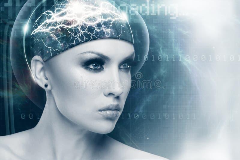 Αφηρημένο θηλυκό πορτρέτο sci-Fi για το σχέδιό σας στοκ εικόνα