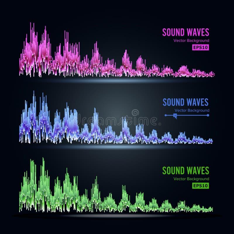 Αφηρημένο διάνυσμα σφυγμού υγιών κυμάτων μουσικής Σύνθεση και ηλεκτρονική υγιής ακρόαση Η αφηρημένη τεχνολογία για τη δημιουργία  ελεύθερη απεικόνιση δικαιώματος