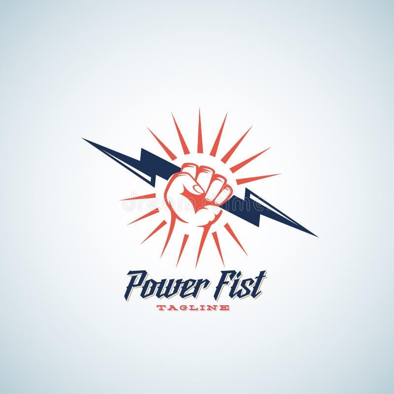 Αφηρημένο διανυσματικό έμβλημα πυγμών δύναμης, σύμβολο ή πρότυπο λογότυπων Σκιαγραφία μπουλονιών αστραπής εκμετάλλευσης χεριών με διανυσματική απεικόνιση