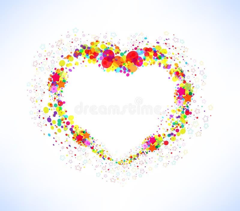 Αφηρημένο διανυσματικό ζωηρόχρωμο υπόβαθρο μορφής καρδιών διανυσματική απεικόνιση