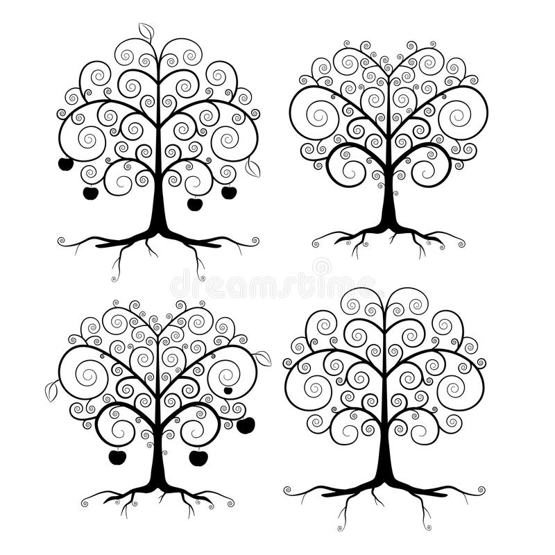 Αφηρημένο διανυσματικό μαύρο σύνολο απεικόνισης δέντρων απεικόνιση αποθεμάτων
