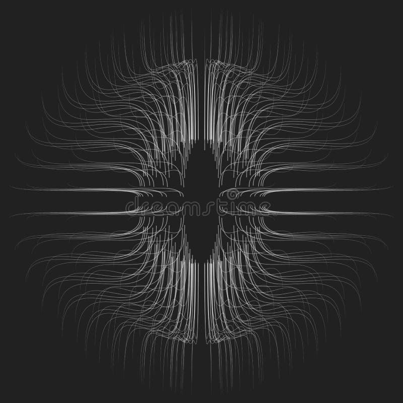 Αφηρημένο διανυσματικό μονοχρωματικό υπόβαθρο πλέγματος Σφαίρα των βιοφωτοβόλων πλοκαμιών Φουτουριστική κάρτα ύφους απεικόνιση αποθεμάτων