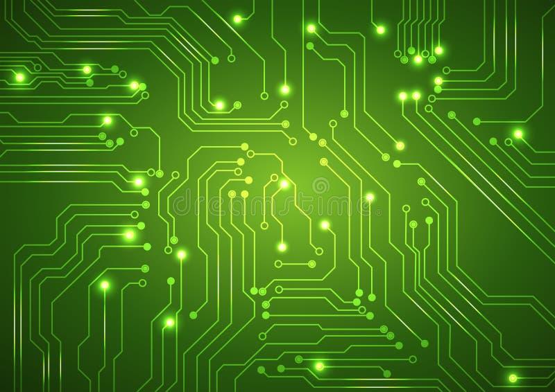 Αφηρημένο διανυσματικό πράσινο υπόβαθρο με τον πίνακα κυκλωμάτων υψηλής τεχνολογίας διανυσματική απεικόνιση