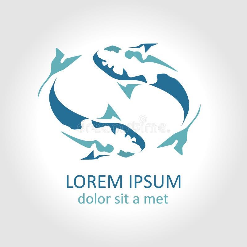 Αφηρημένο διανυσματικό πρότυπο λογότυπων σχεδίου ψαριών στοκ φωτογραφίες με δικαίωμα ελεύθερης χρήσης