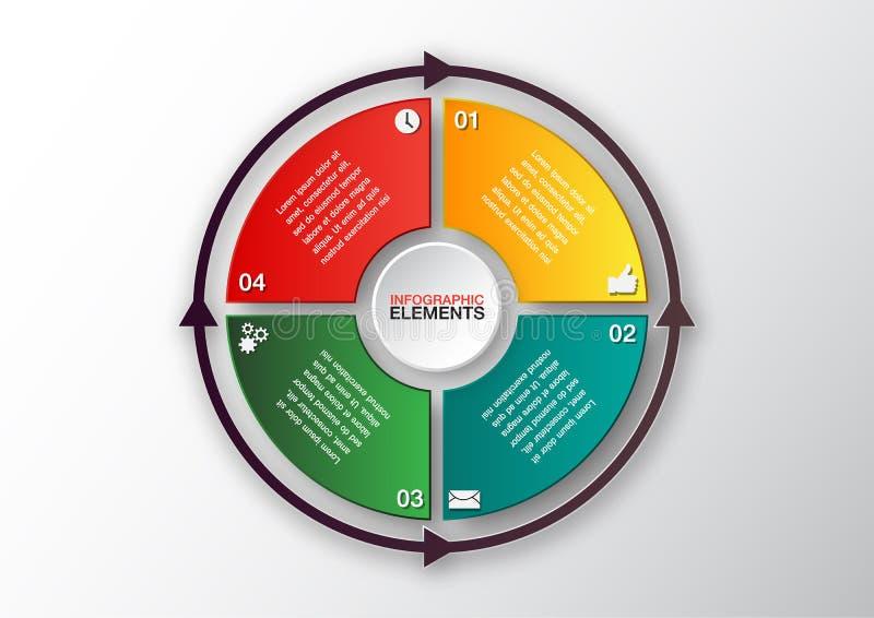 Αφηρημένο διανυσματικό πρότυπο, infographics κύκλων, 4 επιλογές απεικόνιση αποθεμάτων