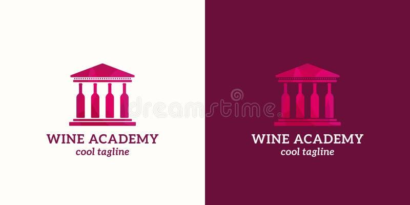 Αφηρημένο διανυσματικό σημάδι ακαδημίας κρασιού, έμβλημα ή πρότυπο λογότυπων Πανεπιστήμιο ή σχολικό κτίριο με τις στήλες μπουκαλι διανυσματική απεικόνιση