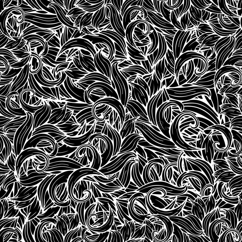 Αφηρημένο διανυσματικό υπόβαθρο, γραπτό άνευ ραφής σχέδιο, μονοχρωματικό Σχέδιο χεριών, scrollwork, μπούκλες, κύματα, φυσικός τυπ ελεύθερη απεικόνιση δικαιώματος