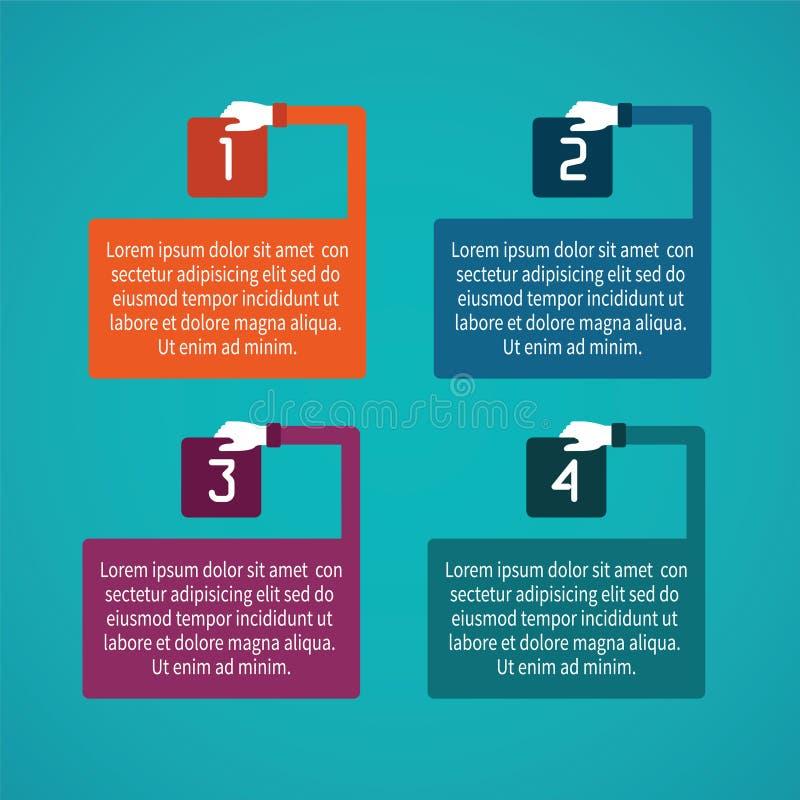 Αφηρημένο διανυσματικό infographic πρότυπο 4 βημάτων στο επίπεδο ύφος για το σχέδιο ροής της δουλειάς σχεδιαγράμματος, που αριθμε διανυσματική απεικόνιση