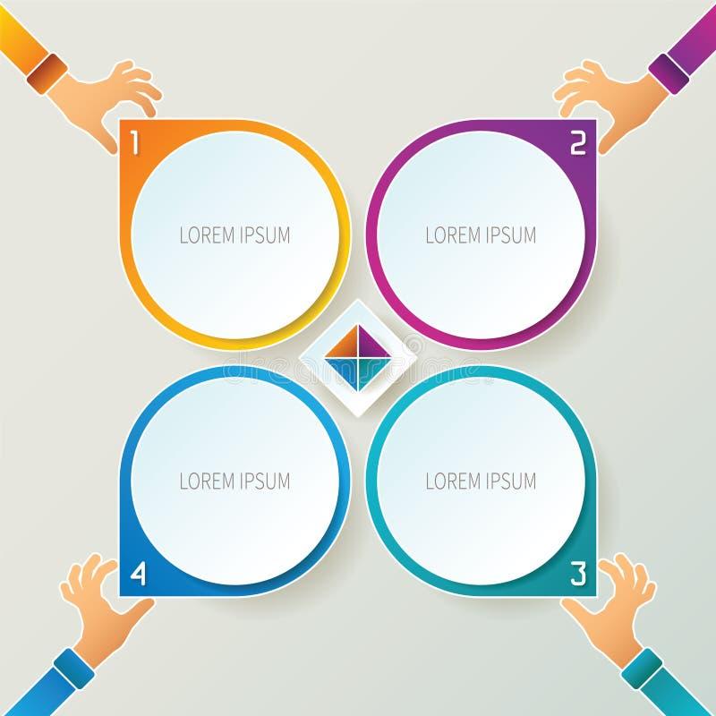 Αφηρημένο διανυσματικό infographic πρότυπο 4 βημάτων στο τρισδιάστατο ύφος για το σχέδιο ροής της δουλειάς σχεδιαγράμματος, που α ελεύθερη απεικόνιση δικαιώματος