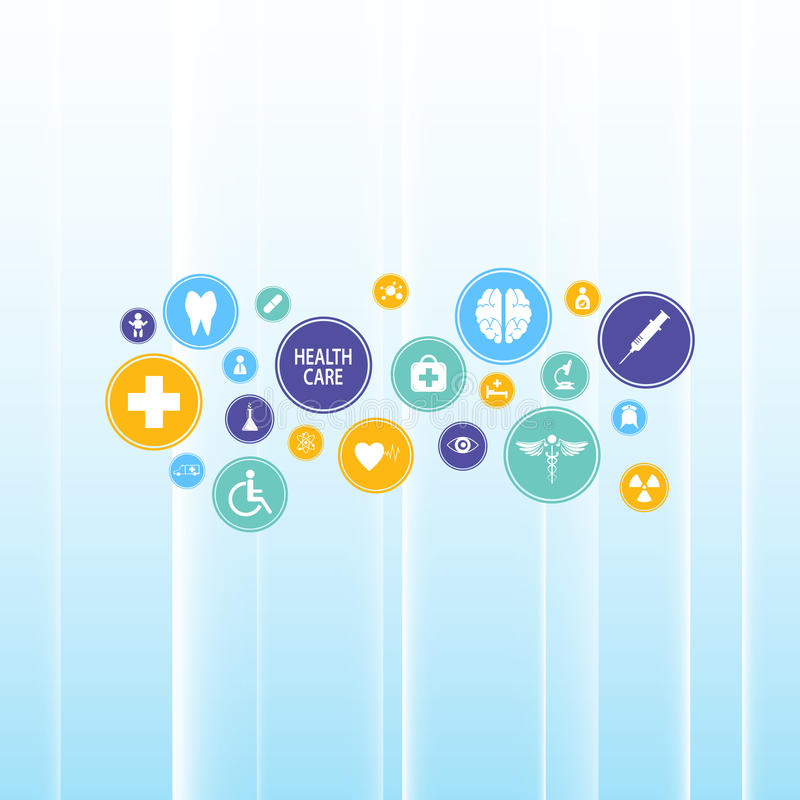 Αφηρημένο ιατρικό εικονίδιο υγειονομικής περίθαλψης στο μπλε κλίσης υποβάθρου σχέδιο προτύπων καινοτομίας infographic απεικόνιση αποθεμάτων