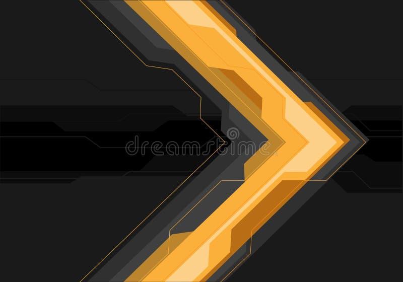 Αφηρημένο κίτρινο γκρίζο βέλος φουτουριστικό στο μαύρο εμβλημάτων διάνυσμα υποβάθρου σχεδίου σύγχρονο διανυσματική απεικόνιση