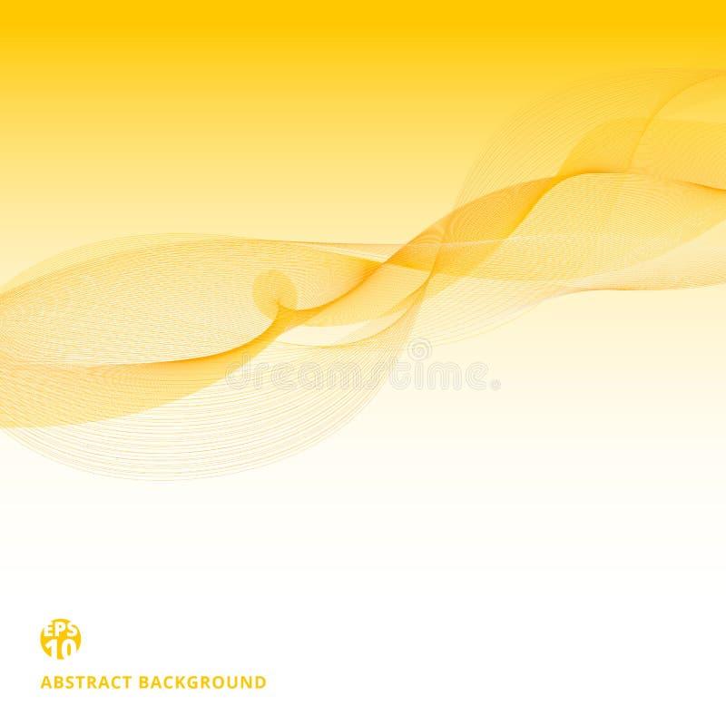 Αφηρημένο κίτρινο σχέδιο κυμάτων γραμμών στο άσπρο υπόβαθρο Έννοια ρευμάτων στοιχείων διανυσματική απεικόνιση