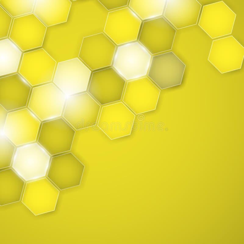 Αφηρημένο κίτρινο hexagon υποβάθρου επίσης corel σύρετε το διάνυσμα απεικόνισης διανυσματική απεικόνιση