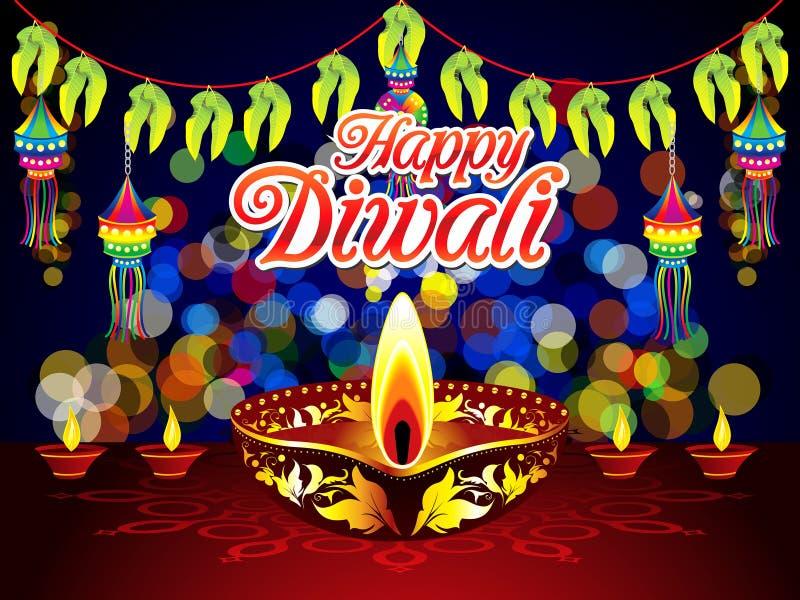 Αφηρημένο καλλιτεχνικό δημιουργικό υπόβαθρο νύχτας diwali απεικόνιση αποθεμάτων