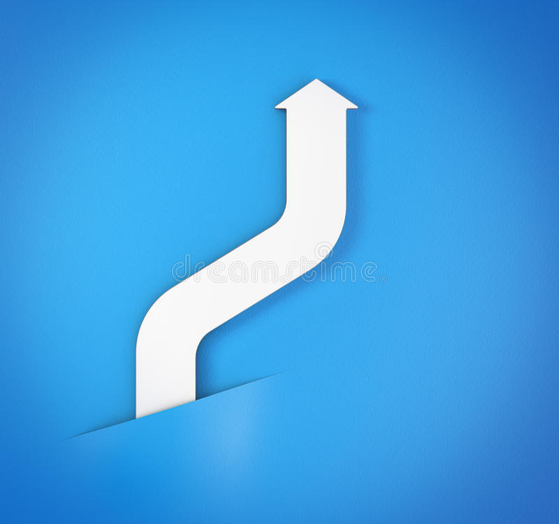 Αφηρημένο καμμμένο άσπρο βέλος στο μπλε υπόβαθρο διανυσματική απεικόνιση