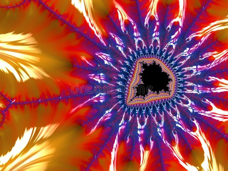 Αφηρημένο κατασκευασμένο fractal mandelbrot στα χρώματα νέου, τρισδιάστατα δίνει για την αφίσα, το σχέδιο και την ψυχαγωγία r απεικόνιση αποθεμάτων