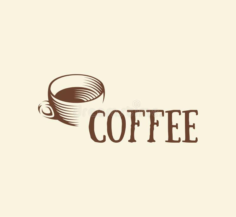 αφηρημένο καφετί λογότυπο φλυτζανιών καφέ χρώματος, ποτό πρωινού logotype, διανυσματική απεικόνιση συμβόλων καφέδων απεικόνιση αποθεμάτων
