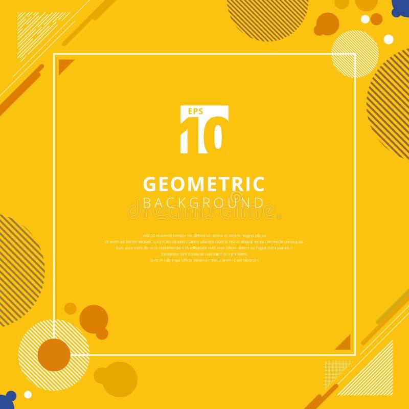 Αφηρημένο καφετί σχέδιο σχεδίων κύκλων γεωμετρικό στην κίτρινη μουστάρδα ελεύθερη απεικόνιση δικαιώματος