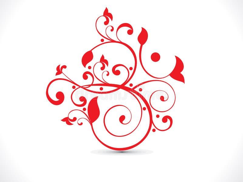Αφηρημένο καλλιτεχνικό κόκκινο floral κείμενο του OM διανυσματική απεικόνιση