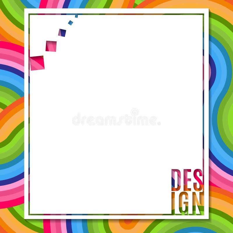 Αφηρημένο κενό ορθογώνιο έμβλημα με το στοιχείο σχεδίου κειμένων στο φωτεινό ζωηρόχρωμο υπόβαθρο του κυματιστού στοιχείου γραμμών απεικόνιση αποθεμάτων