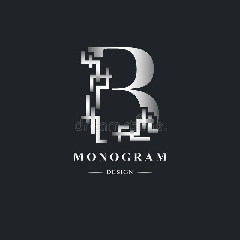 Αφηρημένο κεφαλαίο γράμμα Β Χαριτωμένο γραμμικό ύφος Γεωμετρικό ακριβές σχέδιο Όμορφο λογότυπο Ασημένιο έμβλημα για το σχέδιο βιβ διανυσματική απεικόνιση
