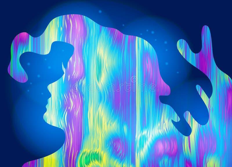 Αφηρημένο κορίτσι, psychedelic υπόβαθρο ύφους Φωτεινό όνειρο, συνειδητό όνειρο, δημιουργική έννοια επίσης corel σύρετε το διάνυσμ ελεύθερη απεικόνιση δικαιώματος