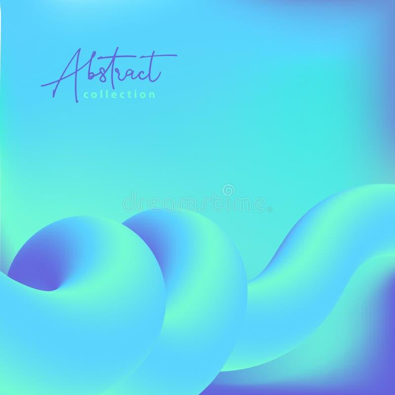 Αφηρημένο κυανό και μπλε διανυσματικό καθιερώνον τη μόδα υπόβαθρο με τις ρευστές τρισδιάστατες μορφές κλίσης, υγρά χρώματα Απομον απεικόνιση αποθεμάτων