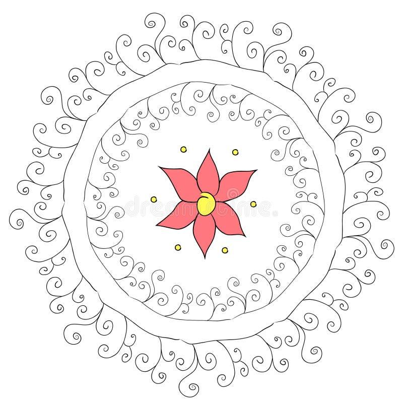 Αφηρημένο κυκλικό σχέδιο με το λουλούδι ελεύθερη απεικόνιση δικαιώματος