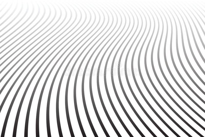 Αφηρημένο κυματιστό σχέδιο γραμμών Μικραίνοντας άποψη προοπτικής απεικόνιση αποθεμάτων