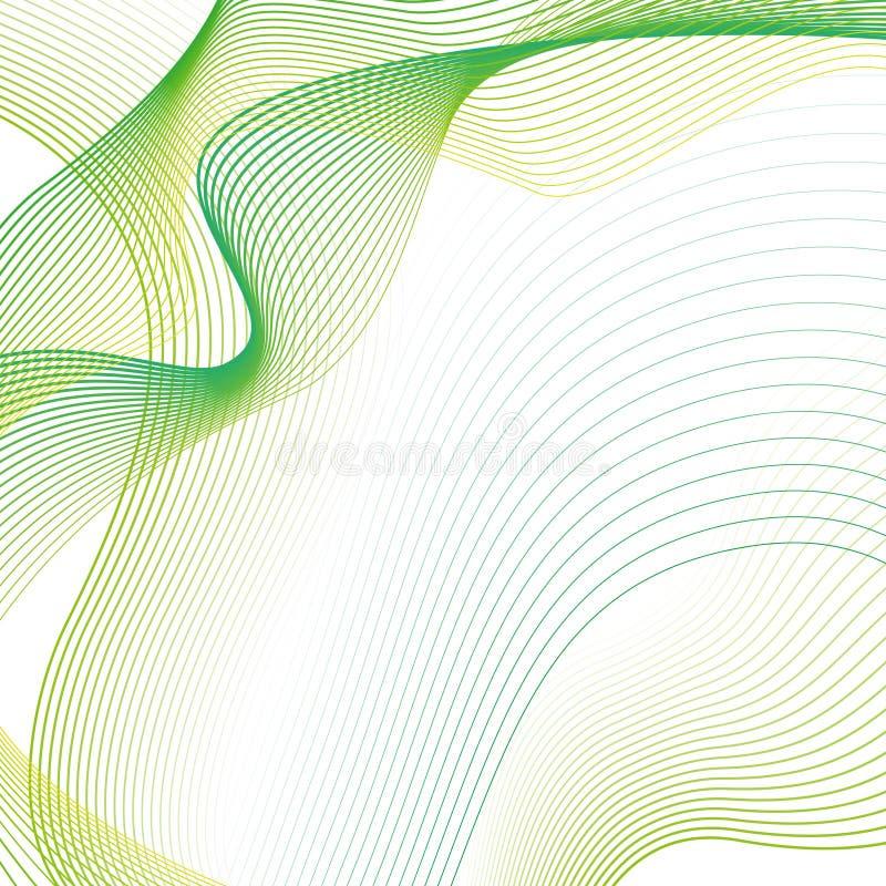 Αφηρημένο κυματιστό υπόβαθρο με τα πράσινα γραμμικά κύματα απεικόνιση αποθεμάτων