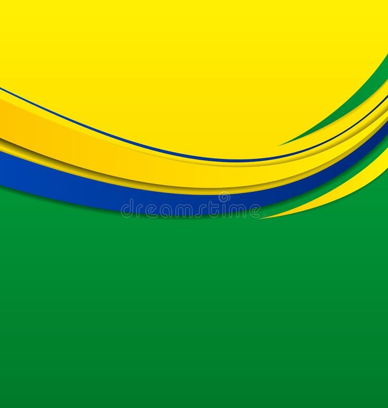 Αφηρημένο κυματιστό υπόβαθρο στα βραζιλιάνα χρώματα απεικόνιση αποθεμάτων