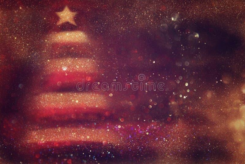 Αφηρημένο κόκκινο και χρυσό υπόβαθρο φω'των Defocused στοκ εικόνα με δικαίωμα ελεύθερης χρήσης