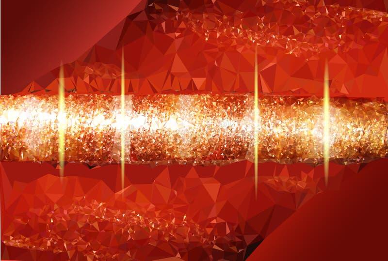 Αφηρημένο κόκκινο καμμένος υπόβαθρο με ένα χρυσό περιστρεφόμενο αντικείμενο απεικόνιση αποθεμάτων