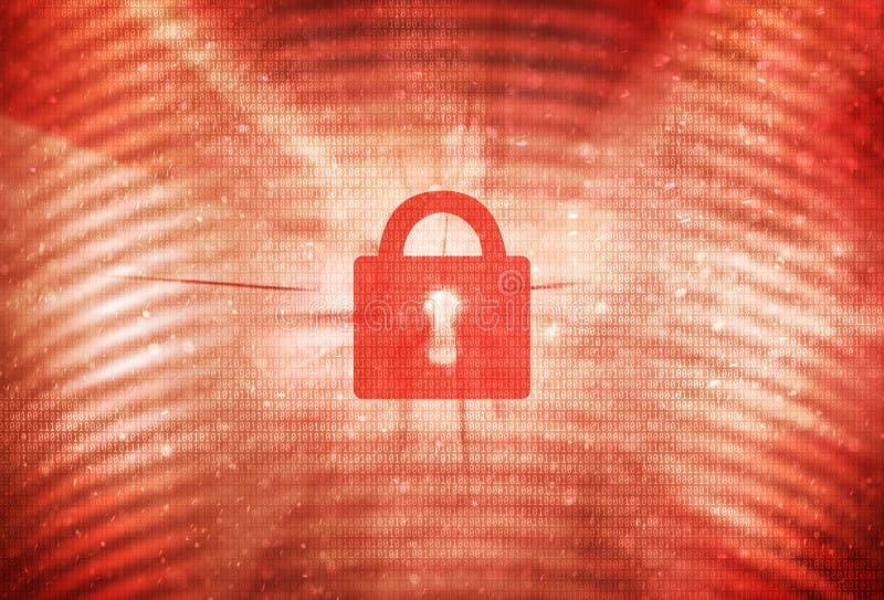 Αφηρημένο κόκκινο κλειστό λουκέτο στο δυαδικό υπόβαθρο στοιχείων διανυσματική απεικόνιση