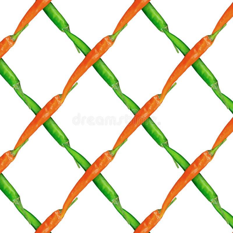 Αφηρημένο κόκκινο πράσινο ζωηρόχρωμο υπόβαθρο πιπεριών τσίλι λοβών δικτυωτού πλέγματος υποβάθρου φυτικό σε μια άσπρη σειρά βάσεων ελεύθερη απεικόνιση δικαιώματος
