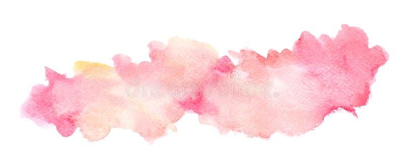 Αφηρημένο κόκκινο watercolor στο άσπρο υπόβαθρο, ράντισμα κόκκινου χρώματος σε χαρτί, στα εμβλήματα υποβάθρων σχεδίου και διακοσμ διανυσματική απεικόνιση