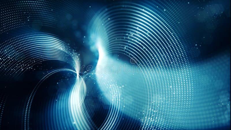 Αφηρημένο κύμα με τα σημεία και το μπλε υπόβαθρο χρώματος γραμμών απεικόνιση αποθεμάτων