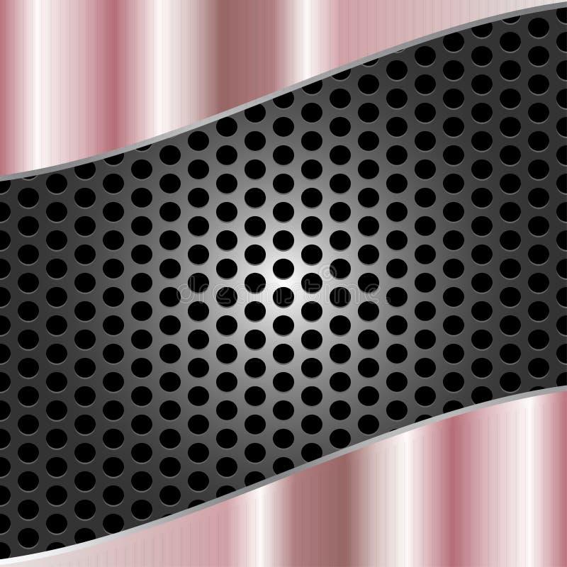 Αφηρημένο λαμπρό βουρτσισμένο ρόδινο μέταλλο στο γκρίζο υπόβαθρο πλέγματος μετάλλων απεικόνιση αποθεμάτων