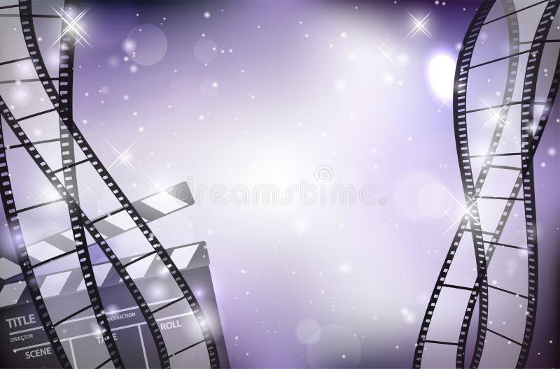 Αφηρημένο λαμπρό υπόβαθρο με τις κενά λουρίδες ταινιών και το χτύπημα ταινιών ελεύθερη απεικόνιση δικαιώματος