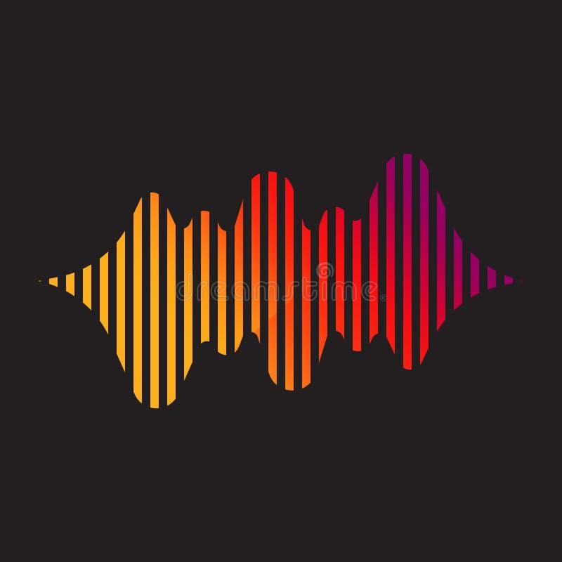 Αφηρημένο λογότυπο ακουστικών ή υγιών κυμάτων, στοιχείο σχεδίου μουσικής λεσχών ελεύθερη απεικόνιση δικαιώματος