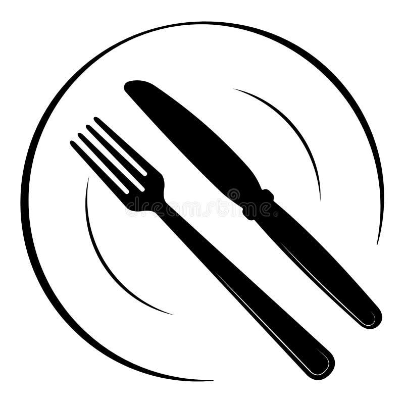 Αφηρημένο λογότυπο ενός καφέ ή ενός εστιατορίου Ένα κουτάλι και ένα δίκρανο σε ένα πιάτο Μια απλή έξω γραμμή απεικόνιση αποθεμάτων